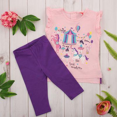 Комплект для девочки (платье, бриджи), рост 98 см, цвет розовый CSB 9650_М