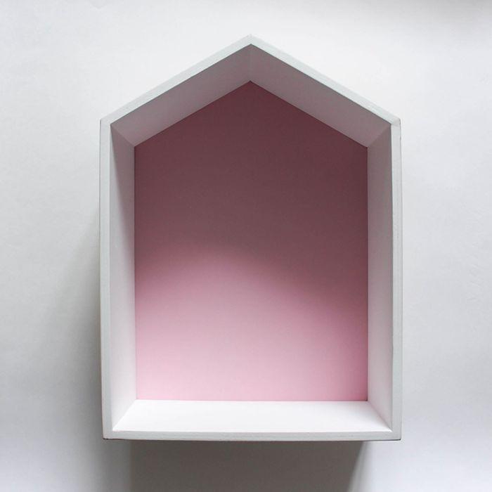 Полка-домик «Порто», деревянная,  розовая, 38х28х15 см