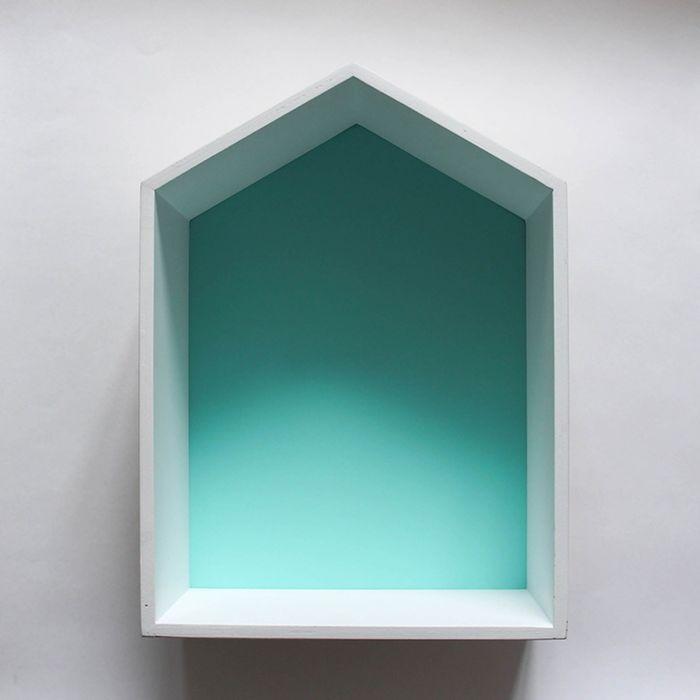 Полка-домик «Порто», деревянная, бирюзовая,  38х28х15 см