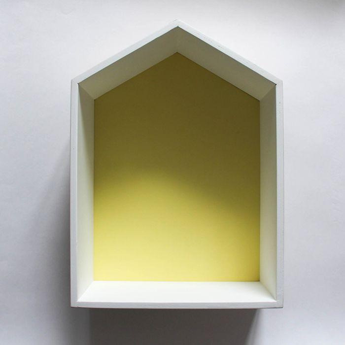 Полка-домик «Порто», деревянная, жёлтая,  38х28х15 см
