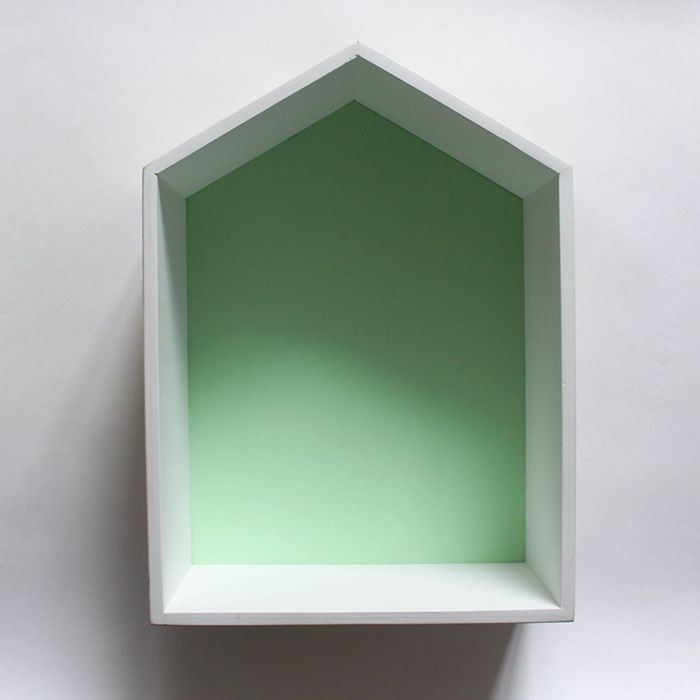 Полка-домик «Порто», деревянная, зеленая,  38х28х15 см