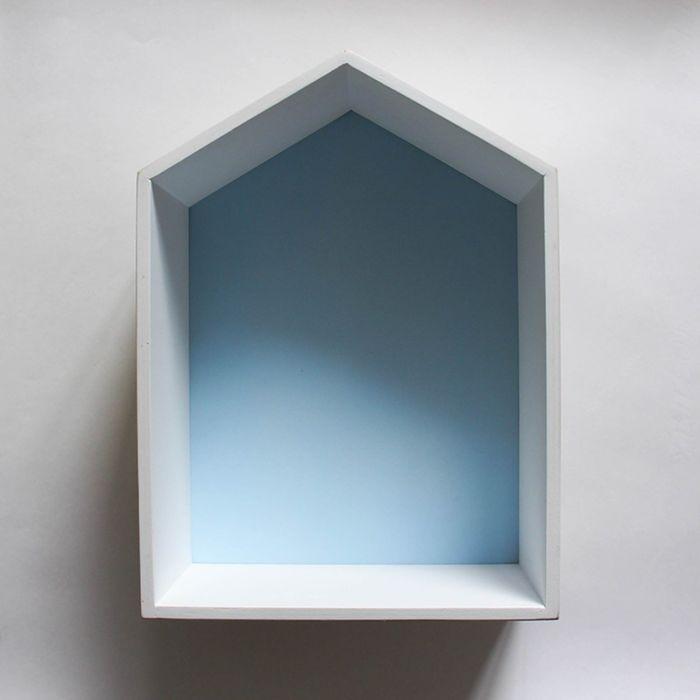 Полка-домик «Порто», деревянная, голубая,  38х28х15 см