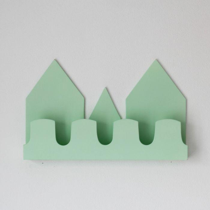 Полка-домик «Верона», деревянная, зеленая, 40х25х5 см