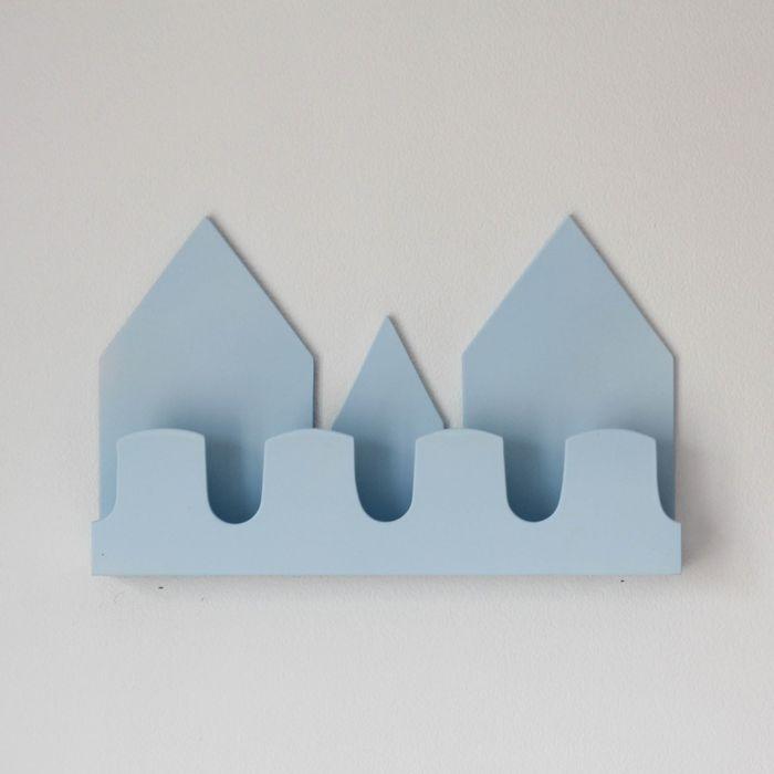 Полка-домик «Верона», деревянная, голубая, 40х25х5 см