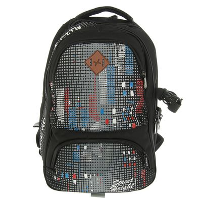 Рюкзак молодежный эргономичная спинка Stavia 40*28*18 «Небоскребы», чёрный/красный 67151
