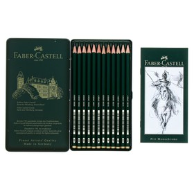 Набор карандашей чернографитных разной твердости Faber-Castel CASTELL 9000, 12 штук, 5H-5B, металлический пенал