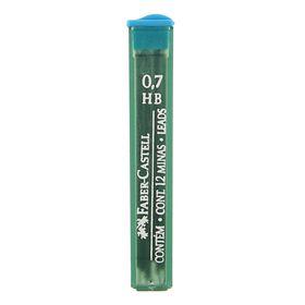 Грифели для механических карандашей 0.7мм Faber-Castell Polymer НВ 12 штук, футляр