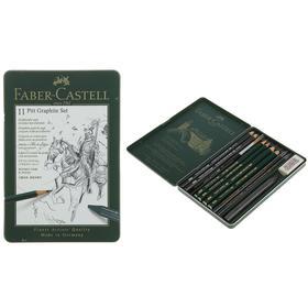 Карандаши художественные (набор) Faber-Castell PITT Monochrome, 11 штук, в металлической коробке