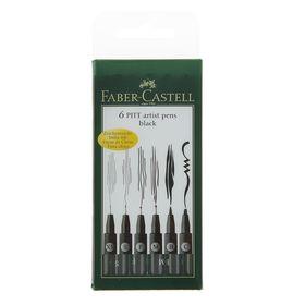 Набор ручек капиллярных Faber-Castell PITT® Artist Pen, 6 штук, разные типы (M,F,S,XS,B,C), цвет черный, (светостойкие)