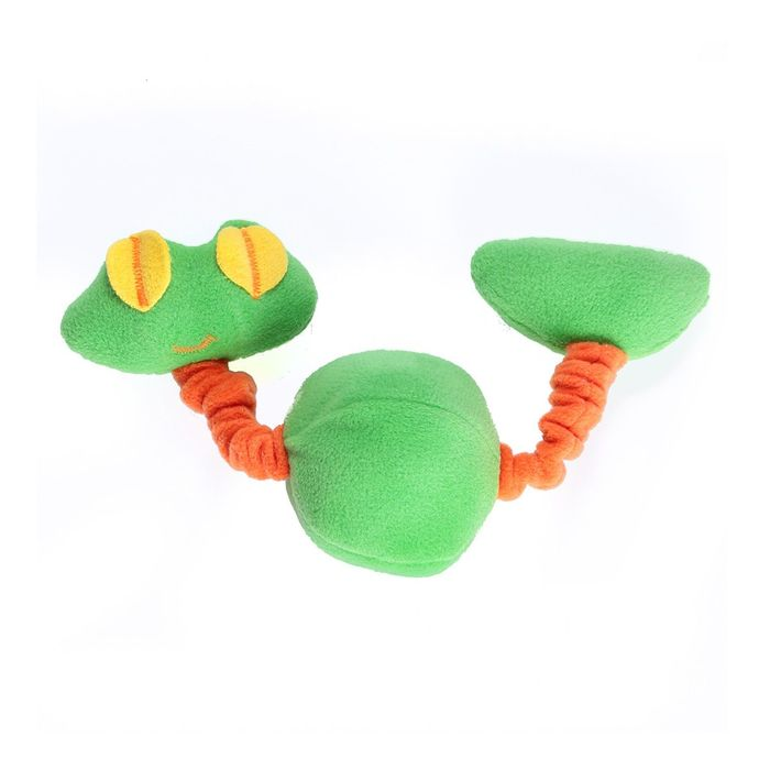 Игрушка для собак OSSO «Лягушка» на резинке с пищалками, 20 см, флис