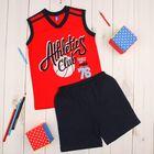 """Костюм для мальчика """"Athletics Club"""" (майка, шорты), рост 98 см (26), цвет красный/тёмно-синий"""