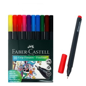 Set of handles of capillary 10 colors Faber-Castell GRIP 0.4 mm in a plastic case 151610