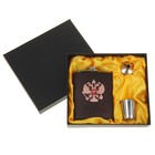 Набор 3в1 (фляжка 210 мл+рюмка+воронка) медальон «Двуглавый орёл», бордовый, 23х17 см УЦЕНКА