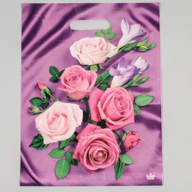 """Пакет """"Атласные розы"""", полиэтиленовый с вырубной ручкой, 40х31 см, 60 мкм"""
