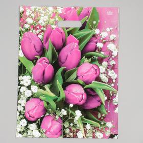 """Пакет """"Розовые тюльпаны"""", полиэтиленовый с вырубной ручкой, 31 х 40 см, 60 мкм"""
