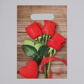 Пакет 'Свежие розы', полиэтиленовый с вырубной ручкой, 30х20 см,30 мкм Ош