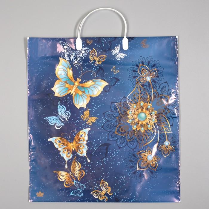 """Пакет """"Золотые бабочки"""", полиэтиленовый с пластиковой ручкой, 44 х 40 см, 100 мкм - фото 308292078"""