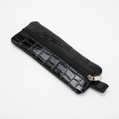 Ключница на молнии, 1 отдел, кольцо, крокодил, цвет чёрный