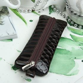 Ключница на молнии, 1 отдел, кольцо, скат, цвет тёмно-коричневый Ош