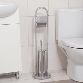 Ёрш для унитаза напольный Accoona, 21,5×21,5×81 см, с держателем для туалетной бумаги, цвет хром