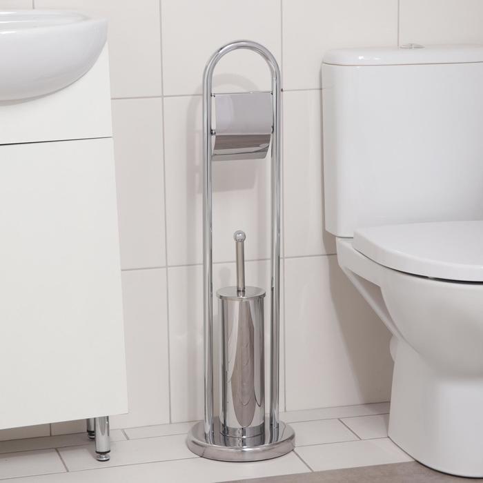 """Ерш для унитаза напольный, с держателем для туалетной бумаги """"Accoona А252"""", цвет хром"""