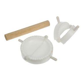 Набор для лепки пельменей 3 предмета (формы d 7,5/10 см, скалка деревянная 17 см)