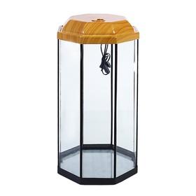 Аквариум восьмигранный с крышкой, 50 литров, 33 х 33 х 60/67 см, вишня