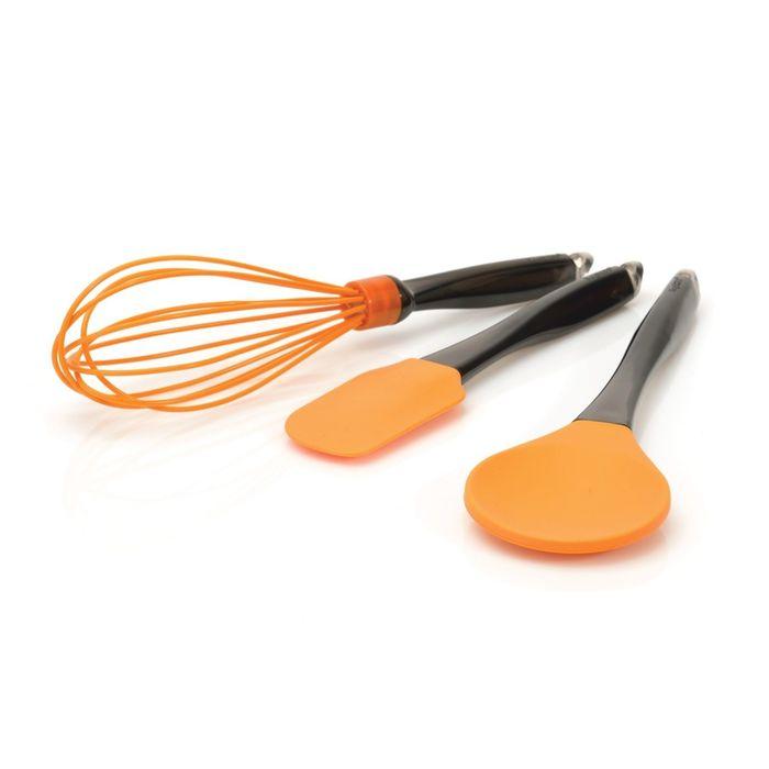 Набор силиконовых кухонных принадлежностей, цвет оранжевый, 3 предмета