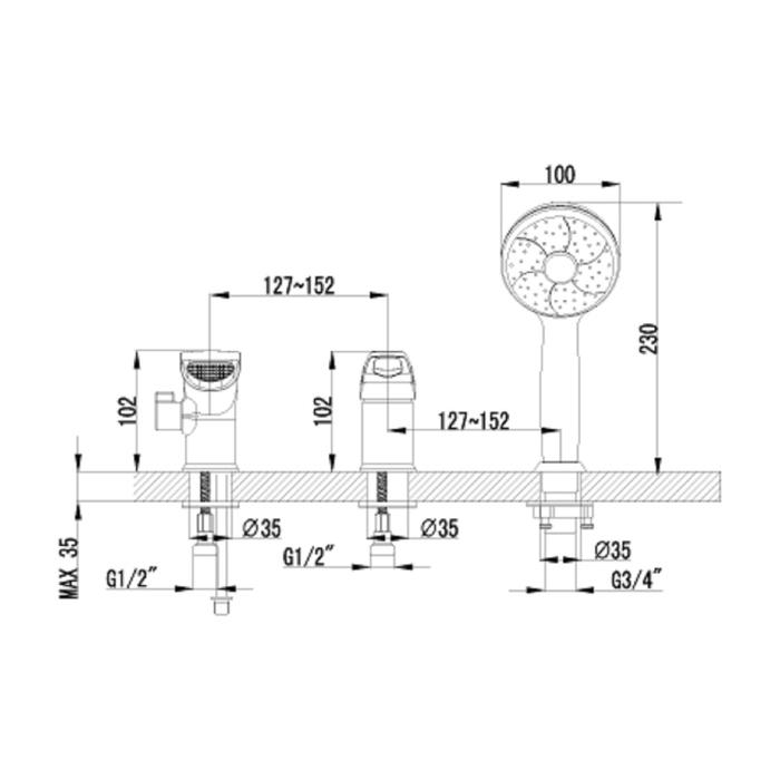 Смеситель для ванны Lemark Omega LM3145C, встраиваемый, хром