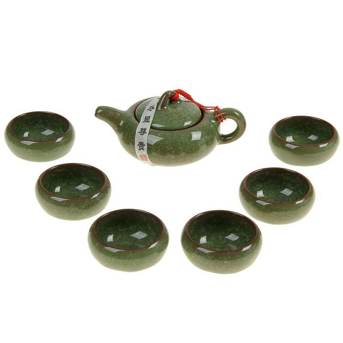 """Набор для чайной церемонии 7 предметов """"Лунный камень"""" зеленый (чайник 150 мл, чашка 50 мл) УЦЕНКА 2"""
