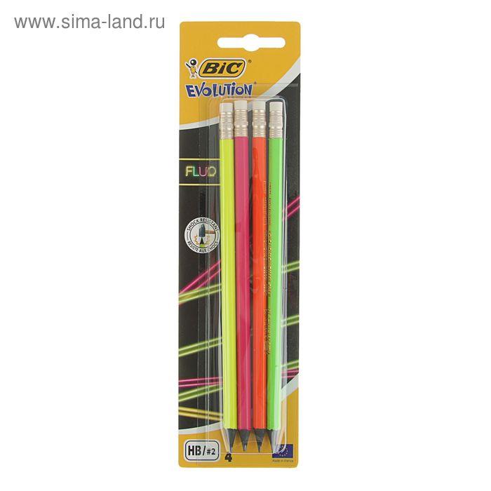Набор карандашей чернографитных 4 штуки BIC Evolution FLUO HB  с ластиком