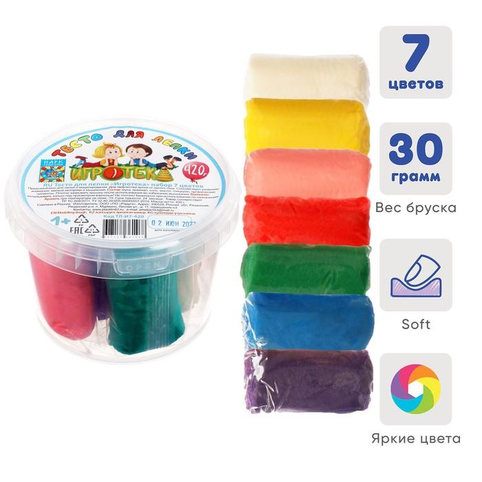 Пластилин на растительной основе набор 7 цветов*60г Аметист ТЕСТО (420г) в пластиковом ведре