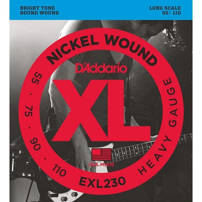 Струны для бас-гитары D`Addario EXL230 XL NICKEL WOUND Long Heavy 55-110