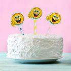 """Топпер для сладкого """"Поздравляем"""", смайлики, набор 6 шт. цвета МИКС"""