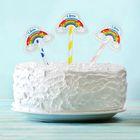 """Топпер для сладкого """"С Днём Рождения"""", радуга, набор 6 шт."""