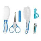 Набор гигиенический, 6 предметов: расчёска- 2шт, книпсер, ножницы, колпачок для ножниц, колпачок для книпсера, цвет голубой