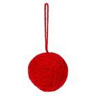 Основа для творчества Шар красная шерсть с подвесом d=5см