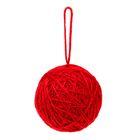 Основа для творчества Шар красная шерсть с подвесом d=6см