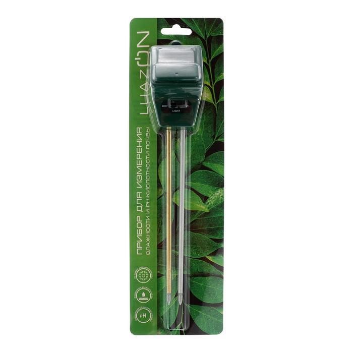 Прибор для измерения влажности LuazON, pH кислотности почвы, зеленый