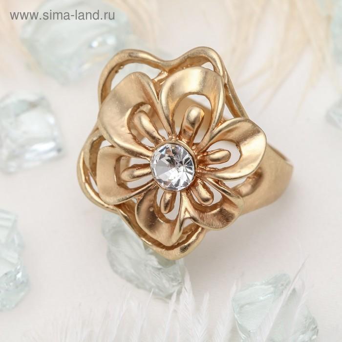 """Кольцо """"Цветочек"""", цвет белы в матовом золоте, размер 18"""