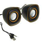 """Акустическая система 2.0 """"023"""" USB для ПК/разъем 3.5, черная с желтым"""
