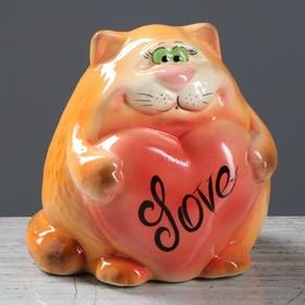 """Копилка """"Кот с сердцем"""" оранжевый, 15 см"""