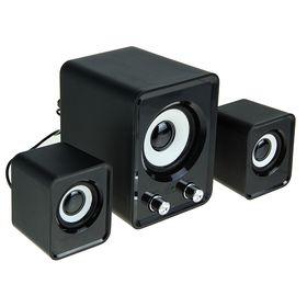 2.1 speaker system LuazON, 2*1.5 W, 13W subwoofer, 3.5/Jack/USB, 80 dB, black