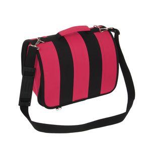 Сумка-переноска каркасная, складная, розово-черная, 40 х 25 х 27 см