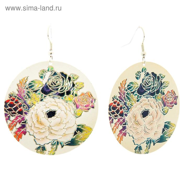 """Серьги """"Круг с рисунком"""" цветы, розы, цветные"""