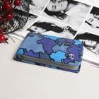 Визитница горизонтальная, 1 ряд, 24 карты, с хлястиком, цвет синий/милитари