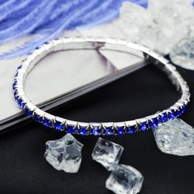 Браслет со стразами 'Лёд' 1 ряд, цвет синий, 4мм Ош