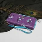 Кошелёк женский, 3 отдела, для карт, для монет, с ручкой, крокодил сиреневый