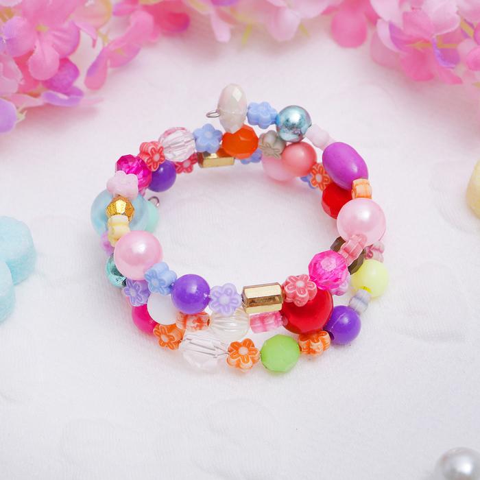 """Браслет-пружинка детский """"Выбражулька"""", бусинки, льдинки, три ряда, цветы, цветной"""