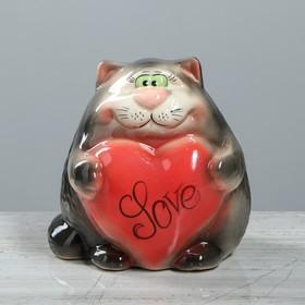 """Копилка """"Кот с сердцем"""", покрытие глазурь, серая, 16 см"""
